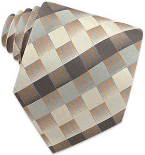 Ken Scott Gray Shaded Checked Woven Silk Tie: US$29.