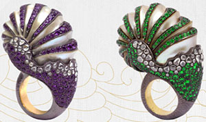 Lotus Nautilus Shell Rings.