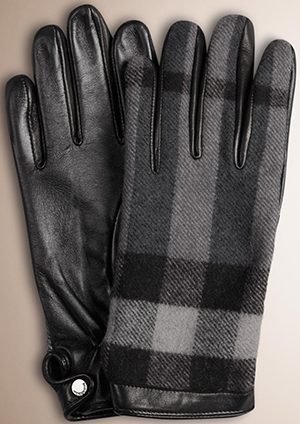 Burberry Check Wool and Leather Touch Screen Men's Gloves: US$295.