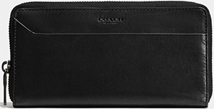 Coach Men's Modern accordion wallet in water buffalo leather: US$295.