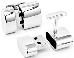 Ravi Ratan polished silver oval WiFi & 2GB USB combination cufflinks: US$250.