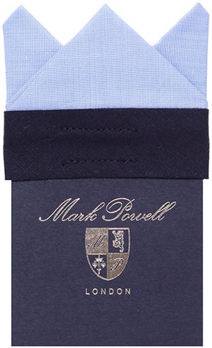 Mark Powell 3 Point Card Hanky Light Blue: £30.