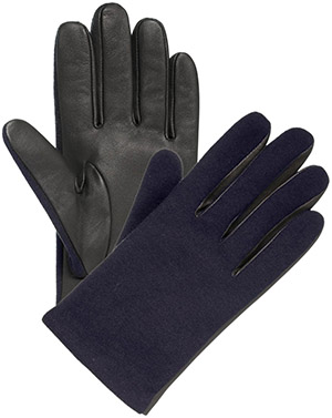 Lanvin Navy blue lambskin and jersey men's gloves: US$315.
