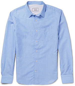 Officine Generale Slub Cotton & Linen Blend Poplin Shirt: US$325.