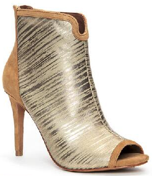 Donald J. Pliner Alina Metallic Leather Peep-Toe Bootie: US$328.