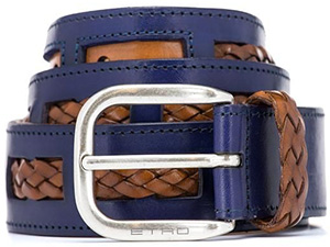 Etro men's braid belt in two contrasting colours: €340.