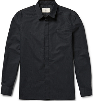 Public School Slim-Fit Mesh-Print Cotton and Silk-Blend Men's Shirt: US$350.