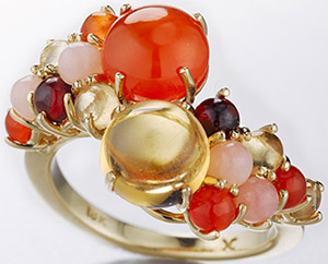 Daria De Koning Dagny Stacking Ring in Carnelian and Citrine (pinks): US$3,600.