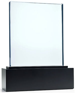 Tiffany & Co. Square award in optic glass with black ebonized wood base. 8-inch W × 10-inch H.: US$3,800.