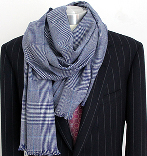 Richard Anderson cashmere scarf grey blue check: £384.
