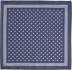 Emmett London navy polka dot print men's pocket square.