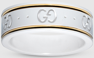 Gucci icon ring in yellow gold and white zirconia powder: US$390.