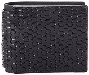 Lanvin Labyrinth wallet in smooth black embossed calfskin: US$315.