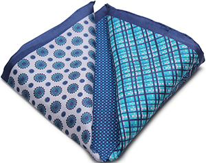 Private Stock Blue 100% Silk Hand-Rolled Pocket Square: US$45.