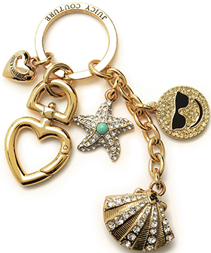 Juicy Couture Pave Shell & Charms Keyfob.