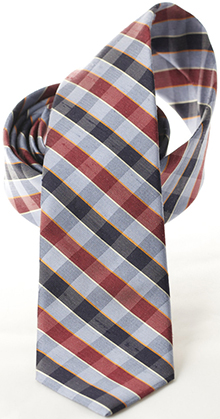 RVSS Silk Necktie - Blue, Red & Grey check: US$48.