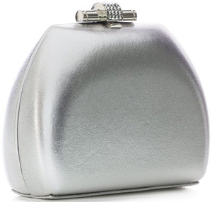 Loriblu Silver leather clutch with jewel claps closure: €485.