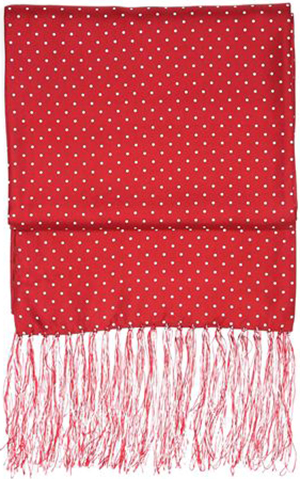 Harvie & Hudson Wine with White Spot Silk Tasselled Scarf: £75.