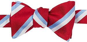 J.Press Regimental Bow Tie - Burgundy/Blue/Whiteie in Pindot: US$49.