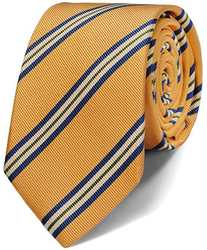 Charles Tyrwhitt luxury slim gold mogador stripe tie: US$49.