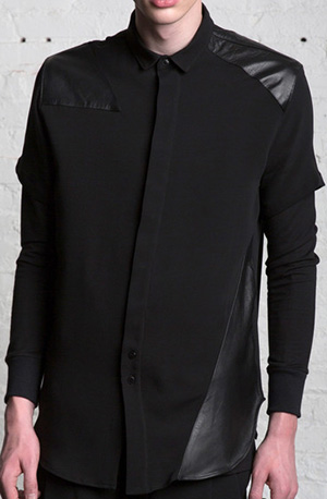 Drifter Willhelm Leather Patch Silk Shirt: US$495.