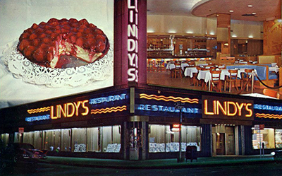 Postcard photo of Lindy's Restaurant at Broadway and 52st Street in New York City.
