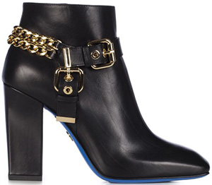 Loriblu Black leather ankle bootie with leather outsole: €510.
