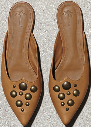 Tomas Maier studded slip on: US$520.