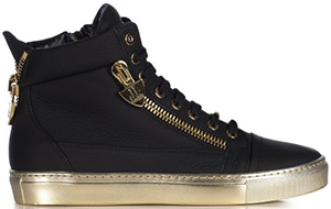 Loriblu Black leather sneaker with metal gold charms, gold rubber sole and decorative zips: €530.