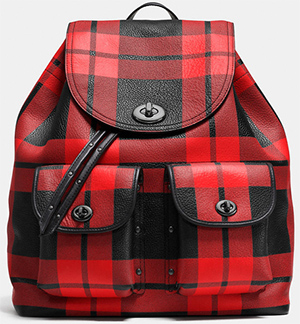Coach mount plaid turnlock tie women's rucksack in leather: US$550.