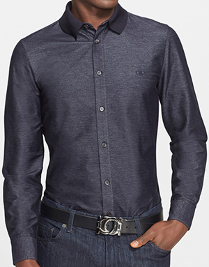 Salvatore Ferragamo Trim Fit Cotton Blend Shirt with Knit Collar: US$570.