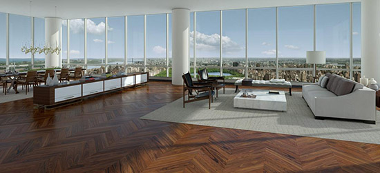 The Duplex Penthouse on floors 89th & 90th of One57, 157 West 57th Street, Manhattan, New York City, NY 10019, U.S.A. sold on December 23, 2014 for US$100.471.452,77