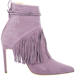 Bionda Castana 'Sahar' - Lilac Calf Suede Fringed Ankle Boot. 100mm Heel: £585.