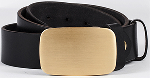 OwnOnly Black Leather Belt (Gold Otto Belt Fastener): US$59.