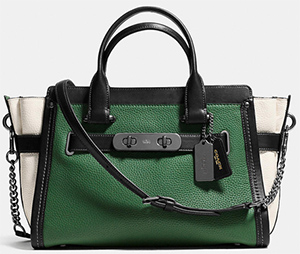 Coach swagger bag with chain in pebble leather: US$595.