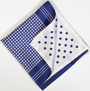 Richard Anderson navy and white polka houndstooth silk handkerchief: £61.