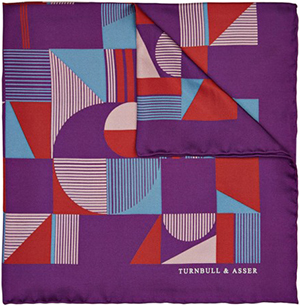 Turnbull & Asser disrupted chequerboard pocket square in purple: £65.