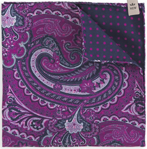 Peter Millar Athens Silk Paisley-to-Dot Pocket Square: US$65.