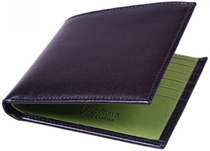 Sage Brown Black With Lime Green Two Tone Bill Fold: £65.