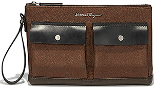 Salvatore Ferragamo Men's Clutch in Textured Calfskin: US$680.