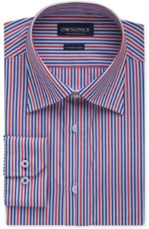 OwnOnly Business Blue, Red & White Stripe Shirt: US$69.