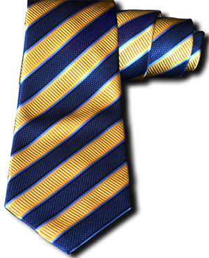Carlo Franco Belpasso - Navy Blue and Gold Silk Striped Mogador silk: US$255.