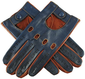 Black Navy and Tobacco Italian Men's Leather Driving Gloves: £72.