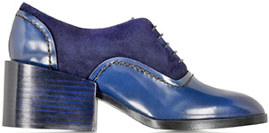 Forzieri Jill Sander Navy Blue Leather and Suede Lace-up Shoe: US$725.