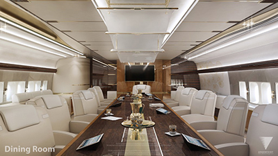 The dining room of personalized Boeing 747-8 aircraft by Greenpoint Technologies.