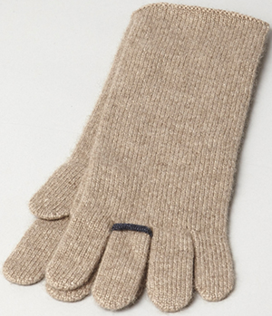 Oyuna Ring Cashmere Gloves In Taupe With Indigo: £75.
