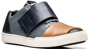 Marni Lace-up in calfskin. Conceptual evolution of the classic sneaker, proposed in 4 colors: US$780.