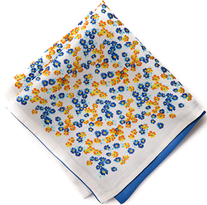 Philippe Perzi White Flower Reversible Pocket Square: US$79.