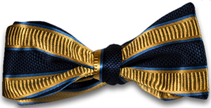 Carlo Franco Belpasso - Navy Blue and Gold Striped Mogador Silk Self Tie Bow Tie: US$85.