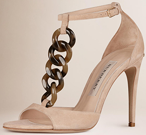 Burberry Chain Detail Suede Sandals: US$895.